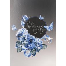 Voščilo, čestitka, sožalna, Iskreno sožalje, modre vrtnice in metulji, 12x17cm