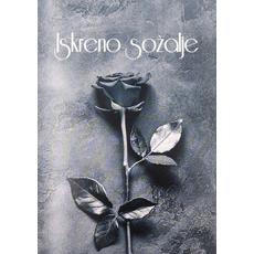 Voščilo, čestitka, sožalna, Iskreno sožalje, vrtnica, 12x17cm