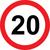 Prometni znak 20 let - 37cm, Arma