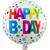 Balon napihljiv, za helij, okrogel s pikami, Happy Birthday, 45cm