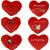 Srček plišast rdeč z napisom, za nalepit, 6.5x5.5x2cm sort.