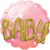 Balon napihljiv, za helij, Oh Baby, za rojstvo punčke, roza, 71cm