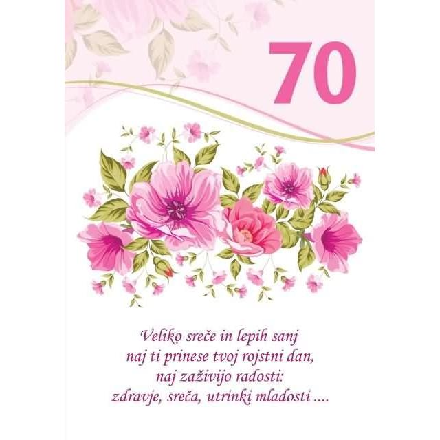 Voščilo čestitka Bela Rože Veliko Sreče In Lepih Sanj Za 70 Bleščicezlatotisk