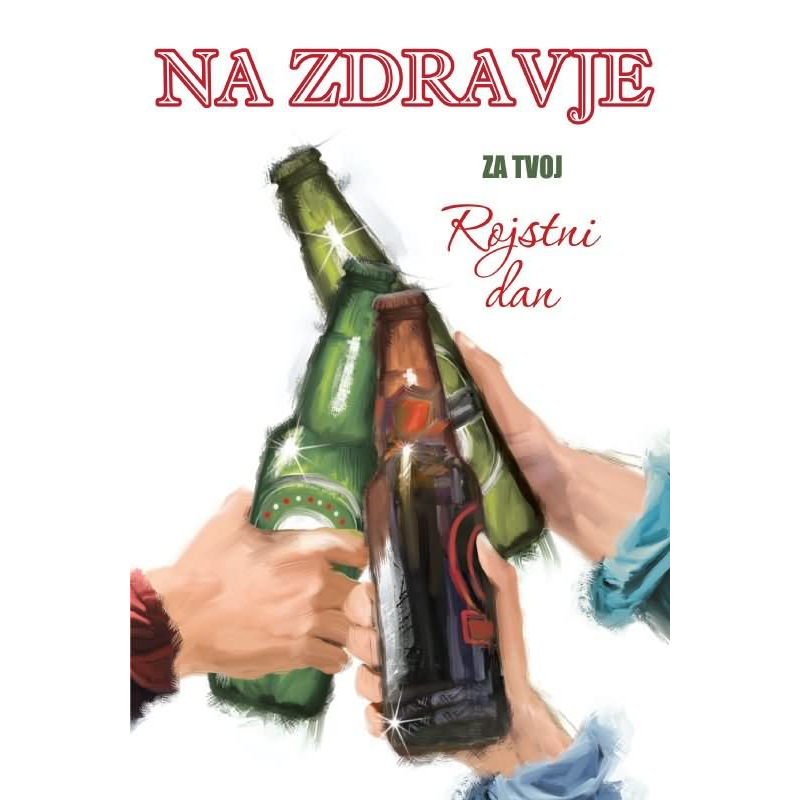 Voščilo čestitka Na Zdravje Za Tvoj Rojstni Dan Tri Piva Zlatotisk 165x245cm