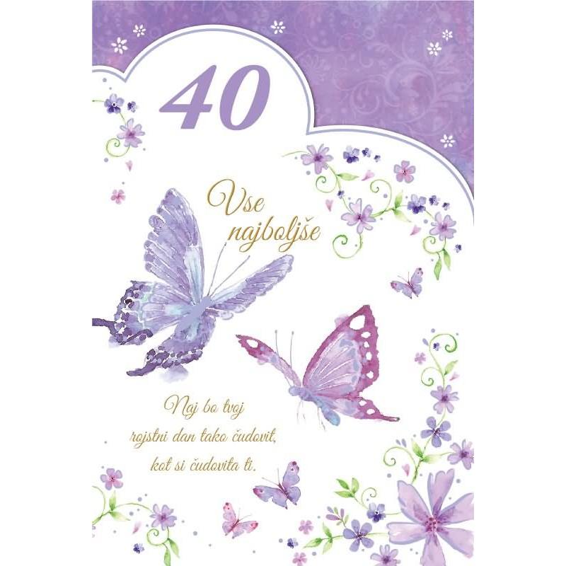 Voščilo čestitka Vse Najboljše Za 40 Rojstni Dan Vijolična Bleščice 165x245 Cm